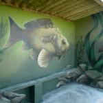 décoration d un abribus poisson et décor aquatique