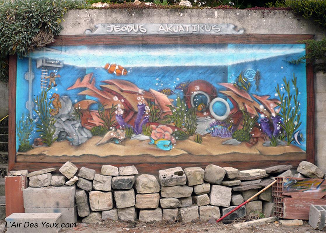 Trompe l'oeil Aquarium - JEODE (77) Sept. 2007 - 3m x 1,70m
